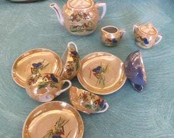 Vintage peach luster ware child's teaset