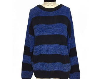 Striped COTTON Vintage Sweater Black Blue BOLD