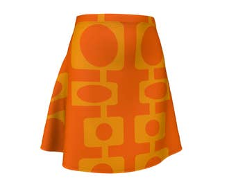 Skirt, Gift,  Orange, For Her, Wife Gift, Womens Skirt, Gift, Retro, Geometric, A-Line Skirt, Womens Gift, Unique, Gift for Women