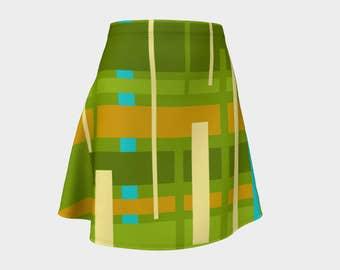 Retro, Skirt Green,Gift, For Her, Wife Gift, Womens Skirt, Gift, Turquoise, A-Line Skirt, Womens Gift, Unique, Gift for Women, Geometric