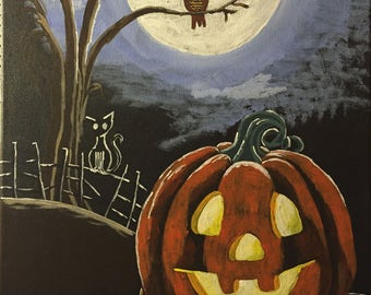"""Original 16X20 Acrylic Painting """"Halloween Night"""" on Stretched Canvas"""