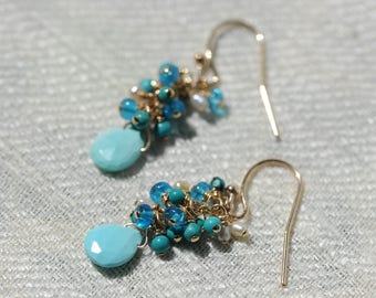 Turquoise, apatite, and pearl cluster earrings with 14K gold fill ear wires
