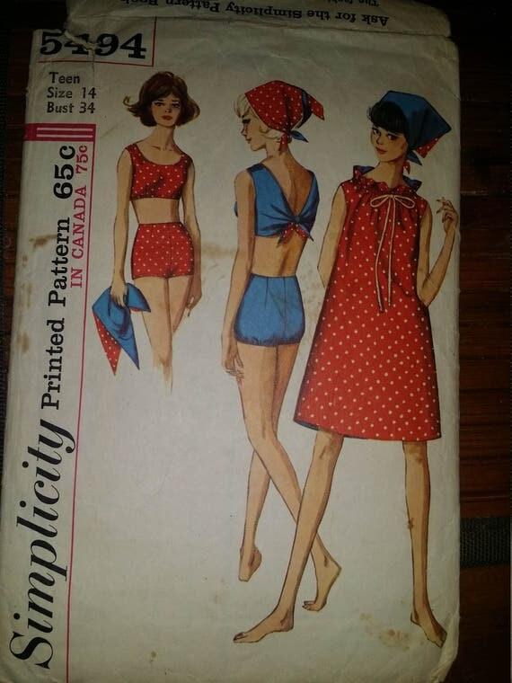simplicity 5494 vintage bathing suit lounge wear pattern teen sz 14 bust 34