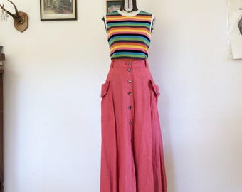 Cotton skirt years 70 Red melange size S
