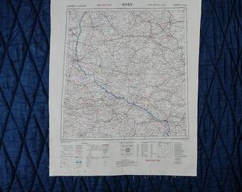 Vintage Silk SAS Escape Scarf Cloth Map from 1950 - ODESSA // KIYEV