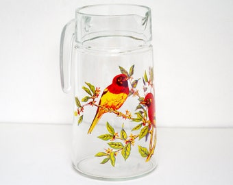Large 70's French glass jug / juice pitcher / tropical pattern / yellow, red and green perched birds transfer / Vintage