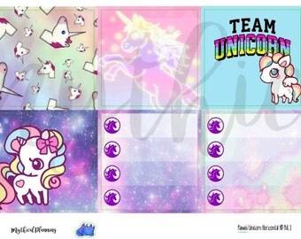 Kawaii rainbow unicorn horizontal sticker kit