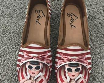 Stripe trendy gal flat shoes