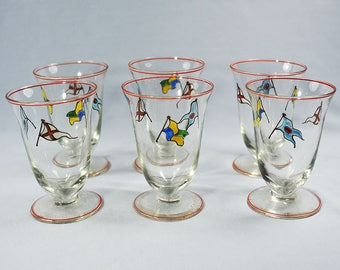 Art Deco Enamel Painted Nautical Flags Glasses-LOT 6