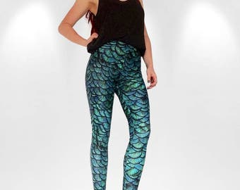 Digital print Dragon Scale/feathers/mermaid handmade leggings blue green