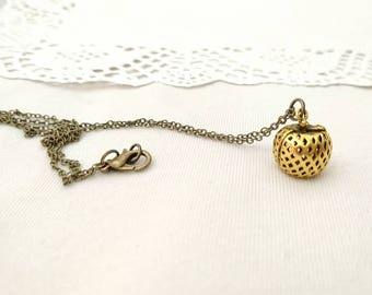 Brass apple pendant, antique brass apple charm