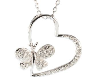 Silver necklace with butterfly heart
