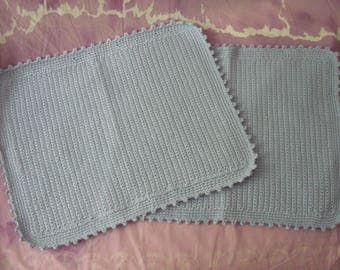 Mat set – set of 2 placemats-from breakfast – crochet cotton – made keder-powder blue-40 x 32 cm-Picot border
