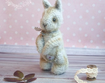 Cute crocheted vintage style bunny with movable legs and arms