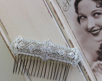 Silver Art Deco Hair Comb , Vintage Style Crystal Hair Comb, Art Deco headpiece, Bridal Headpiece, Wedding Hair Comb