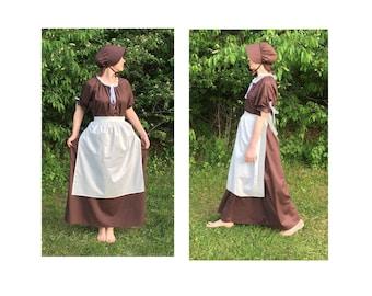 Size S Complete Outfit - Womens Pioneer Trek Colonial Frontier Prairie Pilgrims Renaissance Reenactment Civil War Dress Costume Adult Size
