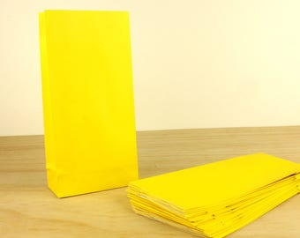 100 Yellow Bags - Lolly Bag For Party Wedding Gift Loot Candy Buffet - Small Craft Flat Bottom
