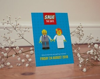 Save the Date card, Lego, Wedding, Couple, Bright, Fun, Quirky, Unique
