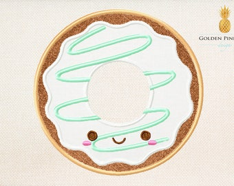 Cute donut applique embroidery design - donut applique design - baby appliqué design - food embroidery design - summer embroidery design