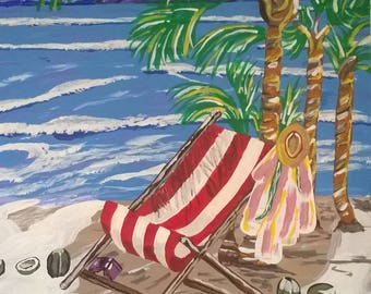 beach chair and palms