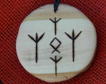 "Wooden Rune-bind amulet talisman ""Property Protection"" pyrography hand made Asatru Wicca Pagan elder FUTHARK"