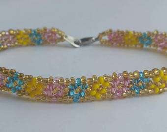 Mother's Day Seed Beaded Anklet! - Gold/Pink/Aqua/Yellow