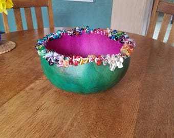 Large Pink and Green Beaded Gourd Bowl