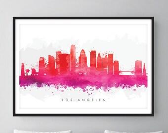 Los Angeles Skyline, Los Angeles California Cityscape, Wall Art, Art Print Watercolor [SWLAX09]