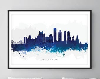 Boston Skyline, Boston Massachusetts Cityscape Art Print, Wall Art, Watercolor, Watercolour Art Decor