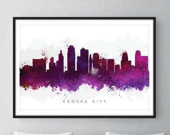 Kansas City Skyline, Kansas City Missouri Cityscape Art Print, Wall Art, Watercolor, Watercolour Art Decor