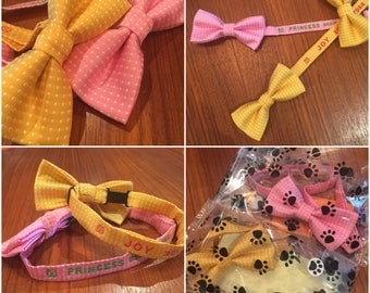 Embroidered, Personalized Bow Tie Dog Collars