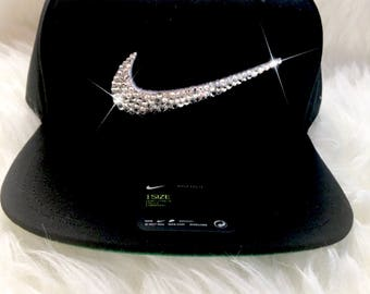 Bling Custom Hat In Black Nike Snap Back With Swarovski Crystals