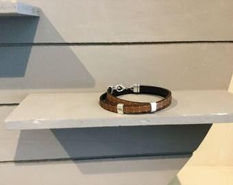 Leather Wrap bracelet Greek motif
