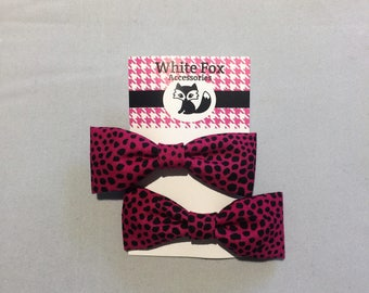 Hot Pink Leopard Print, Fabric Bows
