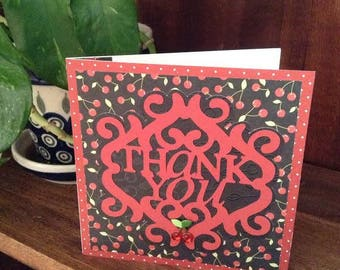 Fancy Handmade Thank You Card - Red, Black, cherry pattern