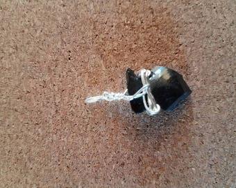 Small snowflake obsidian arrowhead pendant