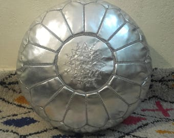 silver leather pouf,moroccan handcrafted leather pouf, ottoman leather pouf