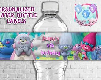 TROLLS BOTTLE LABELS,Dreamworks Trolls personalized printable Water bottle label,Troll Party decoration ideas,Trolls Birthday party decor