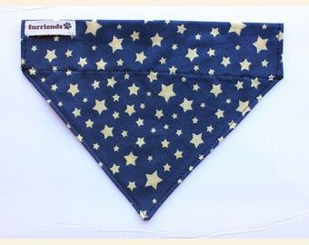 Stars Print Dog Bandana - over the collar