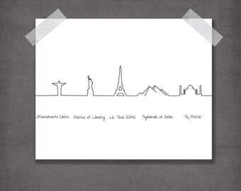 World skyline. Modern art print. Skyline. Minimalism. Modern home decor. Wall print. Wandkunst.Druckbar.Print image JPG. Download digital.