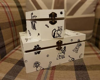 Dog and Cat themed storage boxes