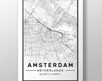 Amsterdam City Map Print, Modern Contemporary poster in sizes 50x70 fit for Ikea frame All city available London, New york Paris Madrid Rome