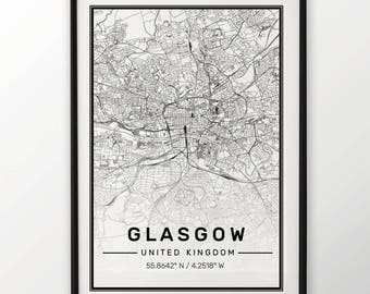 Glasgow City Map Print, Modern Contemporary poster in sizes 50x70 fit for Ikea frame All city available London, New york Paris Madrid Rome