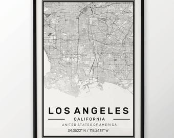 Los Angeles City Map Print, Modern Contemporary poster in sizes 50x70 fit for Ikea frame All city available London, New york Paris Madrid