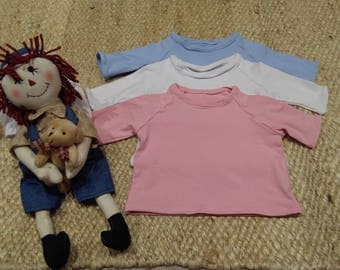 Basic t-shirt in stretch cotton, long or short sleeve, handmade baby clothes