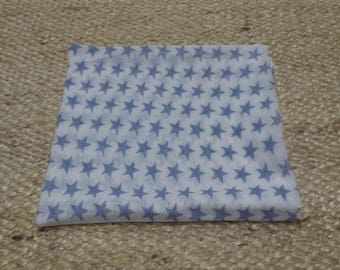 Muslin gauze cotton patterned star in blue, breathable, handmade baby clothes