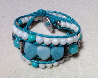 Turquoise Leather Three Wrap Bracelet