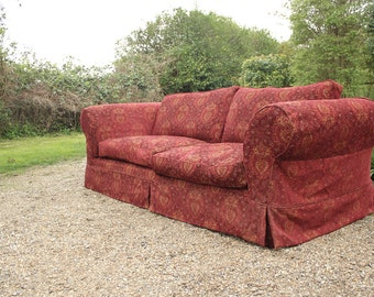 Large Red Chesterfield Style Sofa