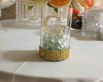 Centerpiece vase decorated with rhinestone and letter decoration