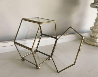 Vintage Brass Glass Display Case